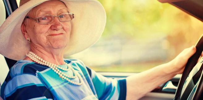 senior, emeryt, kierowca, samochód