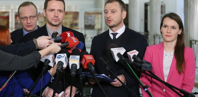 Posłowie PO: Rafał Trzaskowski, Sławomir Nitras, Agnirszka Pomaska i Paweł Olszewski