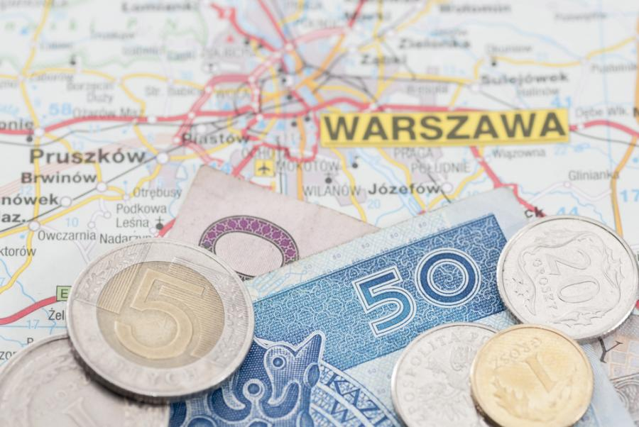 polska, mapa, pieniądze