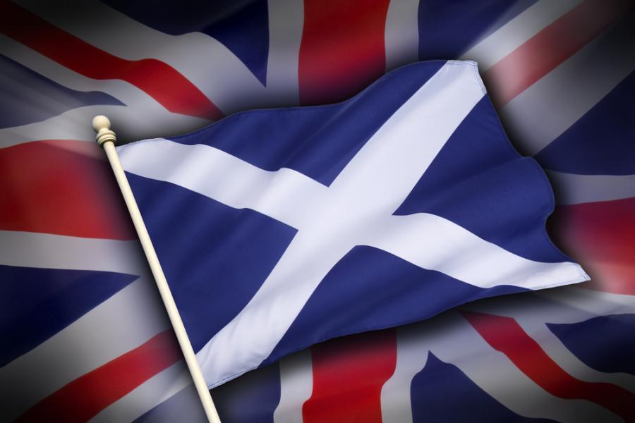 Flaga Szkocji i Wielkiej Brytanii