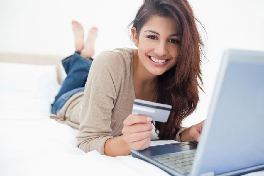 kobieta, komputer, karta