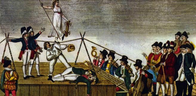 Demokracja balansująca na linie – karykatura z okresu Wielkiej Rewolucji Francuskiej