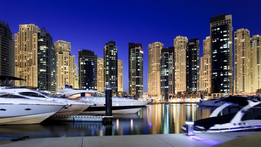 Przystań jachtowa w Dubaju. Zjednoczone Emiraty Arabskie.