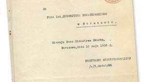 Akt mianowania Eugeniusza Kwiatkowskiego na ministra skarbu, maj 1936 r.