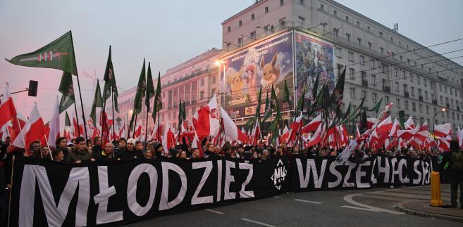 Narodowcy podczas Marszu Niepodległości