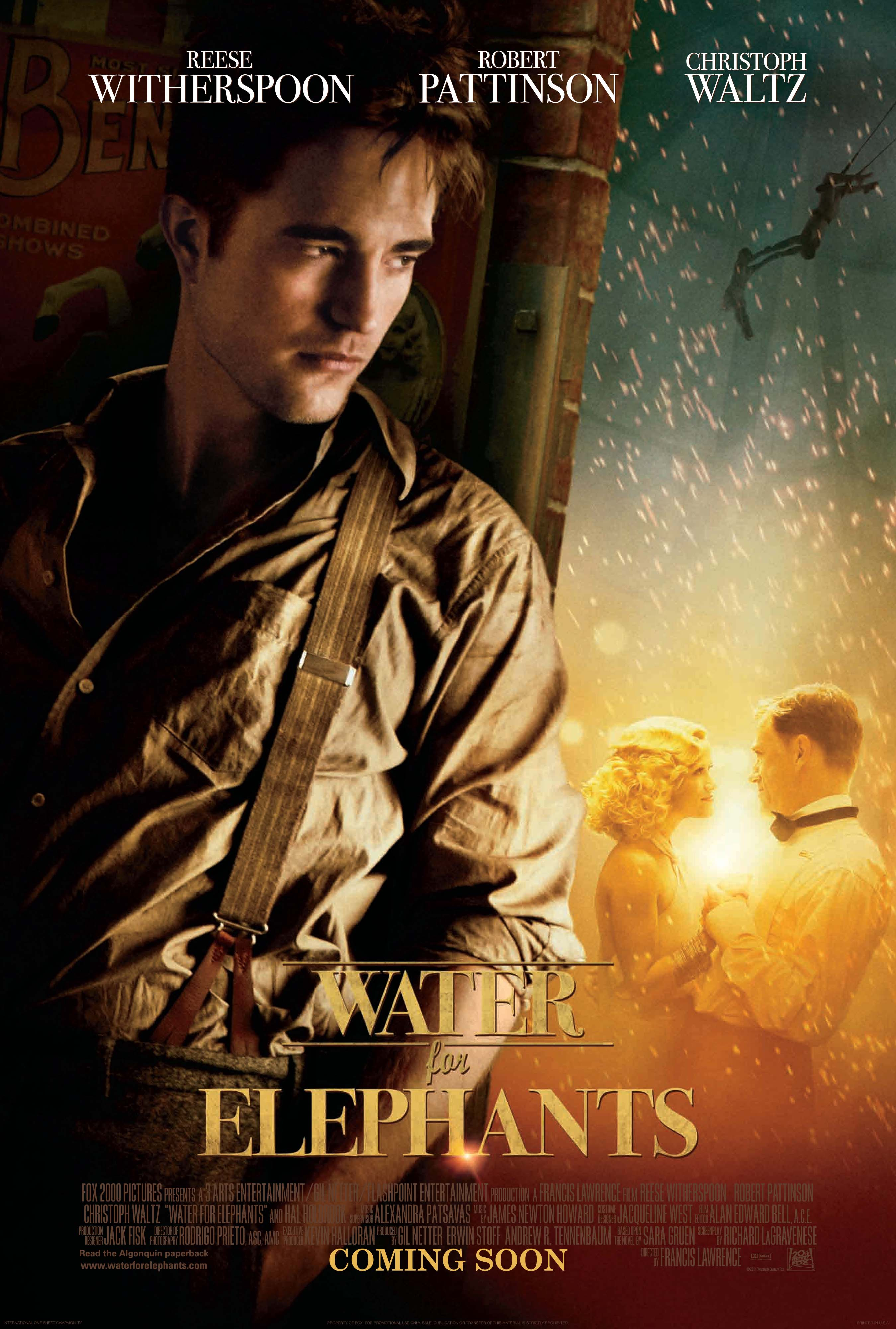 "Robert Pattinson na plakacie filmu ""Woda dla słoni"""