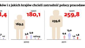 Ilu pracowników i z jakich krajów chcieli zatrudnić polscy pracodawcy (tys.)